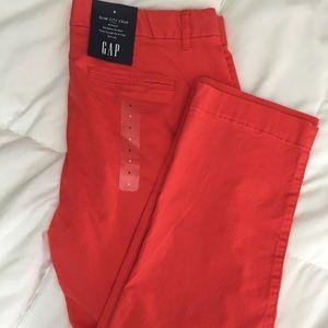 New Gap Slim City Crop Pants Size 8 Coral